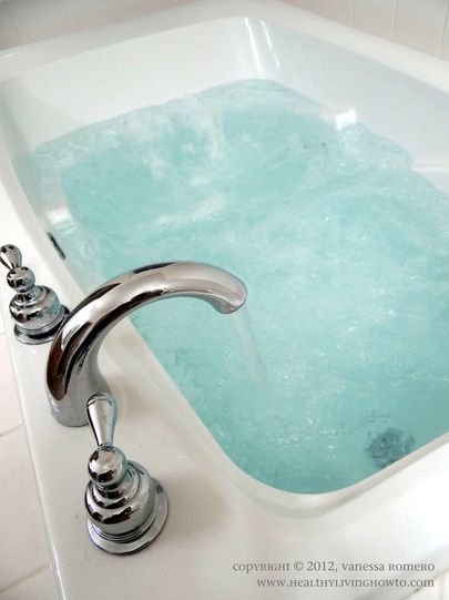 Detox Bath - Add 2 cups Epsom Salt to a very hot bath (as hot as you can stand it). Add 1 cup Baking Soda to unfiltered bathwater. Soak for 20 min. And shower in cool water. No perfumed lotions or soap after detoxing. No eating before or after detox bath....just drink lots of water before and after. Hmmm, will have to try.