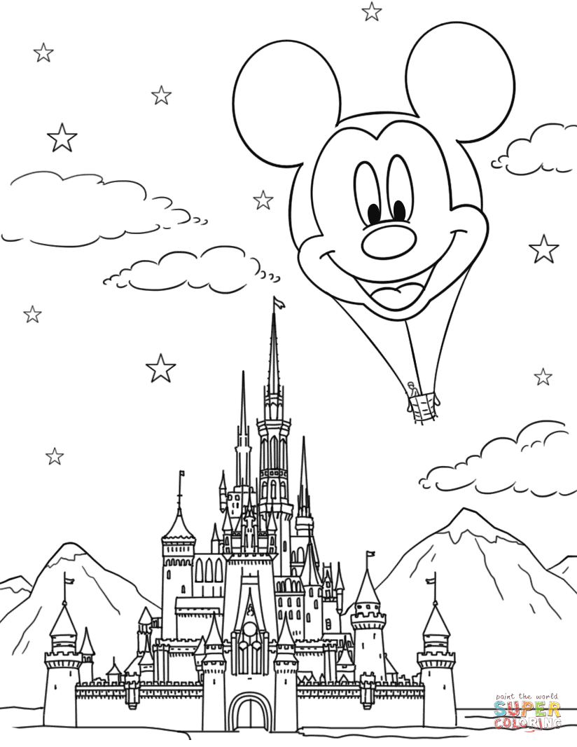 Disney castle and mickey mouse hot air balloon coloring page free
