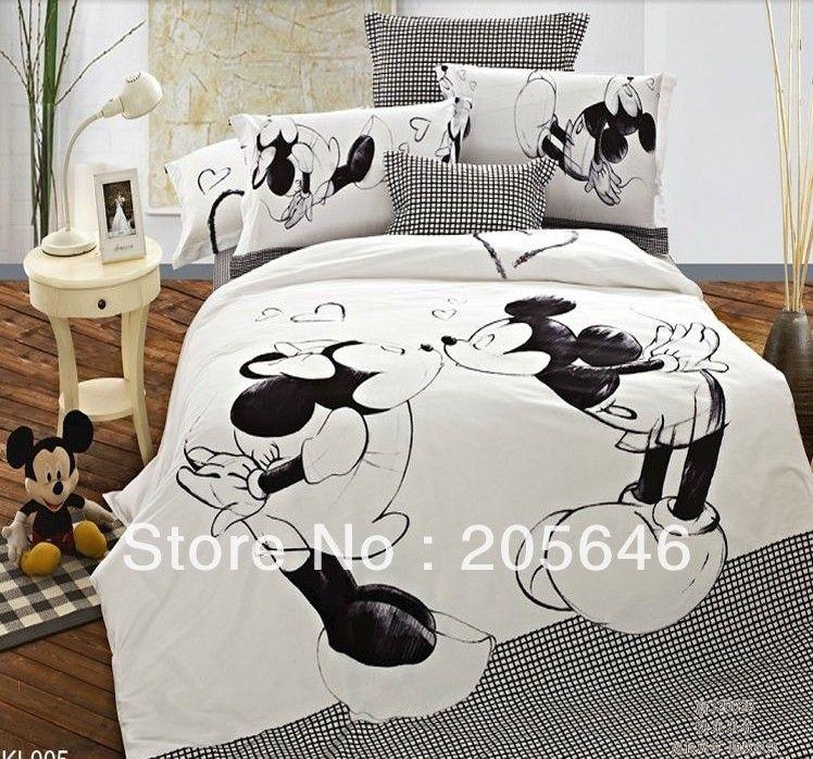 eb206a809d Branco e vermelho de mickey e minnie mouse rei rainha cartoon jogo do  fundamento folha de cama linhos doona