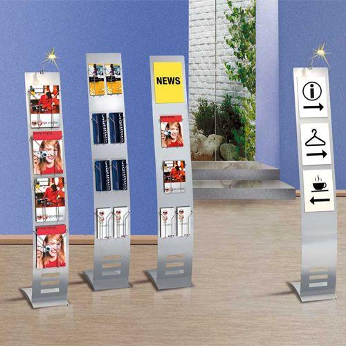 Infoständer schmal, 165 x 26cm  für DIN A4 Formate, DIN A5 und DIN-lang (Faltprospekte).
