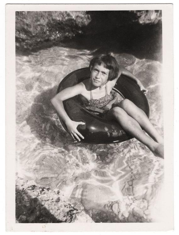 Children on beach, vintage photo, little boys and girls swimming, inflatable toys, vintage swimwear, summer photo found beach snapshot #9947 #vintageswimwear