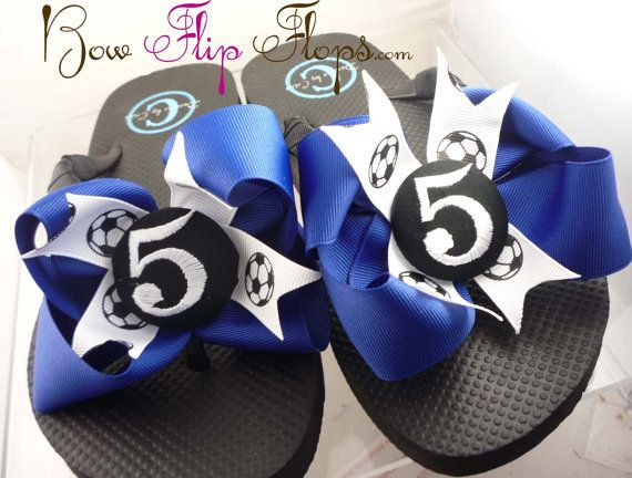 2f4a6db1f9ca3c Soccer Flip Flops Bow Number Personalized Monogrammed Mom Girl Boutique  Sports Ribbon Flip Flops choose your ribbon and team colors on Etsy