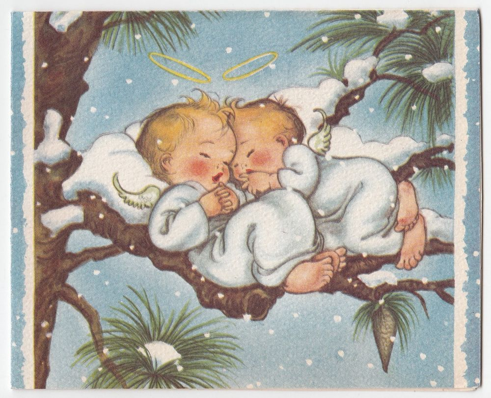Angels Christmas Cards.Details About Vintage Christmas Card Mcm Mouse Sleeping