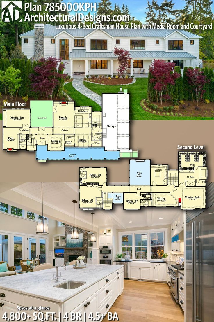 Photo of Plan 785000KPH: Luxurious 4-bed craftsman house plan with media room and courtyard