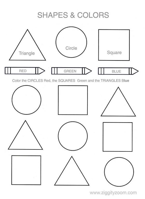 shapes colors printable worksheet 3 year old - Worksheets For 3 Year Olds Printables