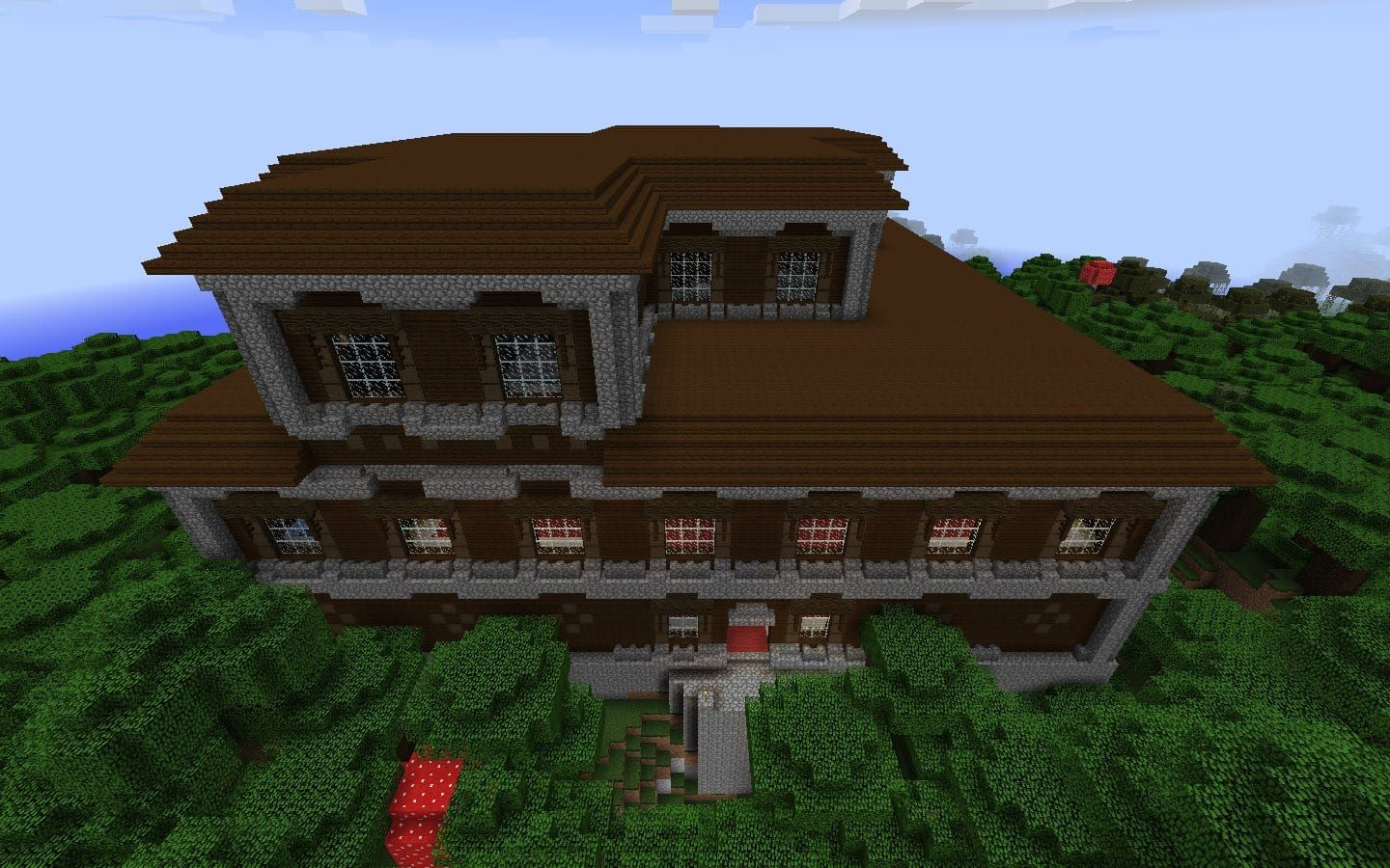 Minecraft Mansion Seed For Pc Mac Spawn On The Edge Of A Ravine Within View Of A Woodland Minecraft Mansion Minecraft House Tutorials Minecraft House Designs