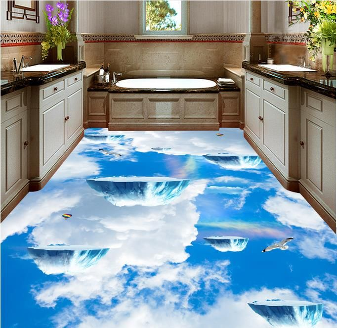 3D bathroom flooring of epoxy paint makes you above the sky | 3D ...