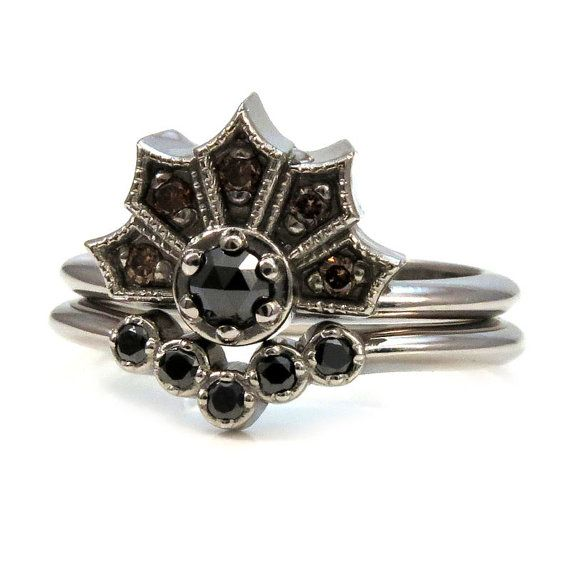 Gothic White Gold and Black Diamond Crown Ring set with Nesting
