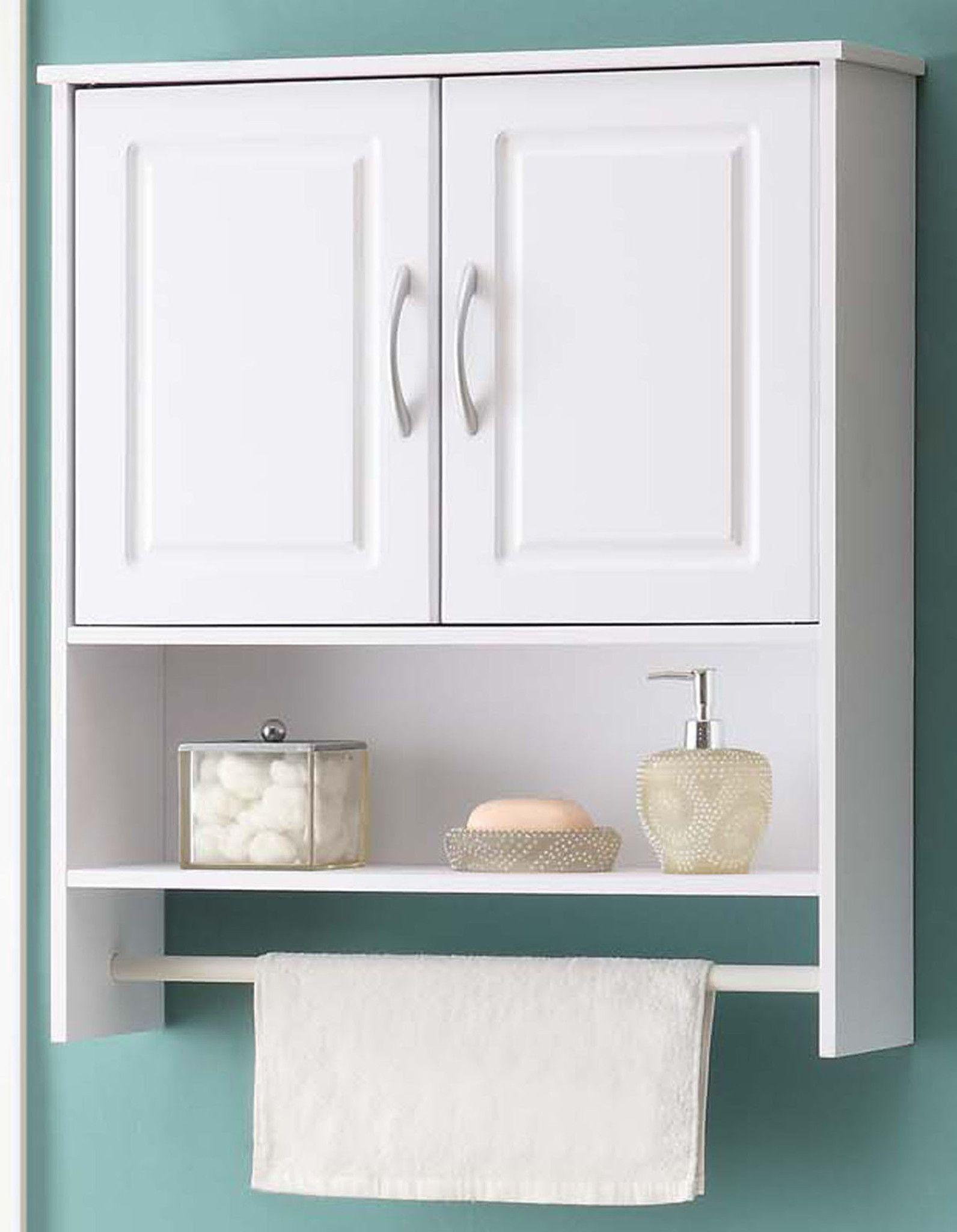 2-Door White Bathroom Wall Storage Cabinet | Bathroom wall storage ...