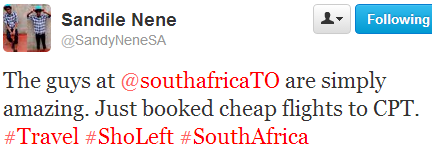 """Thanking the rockstars who take time out to give recognition @Sandile Nene  """"Just booked cheap flights to CPT"""""""