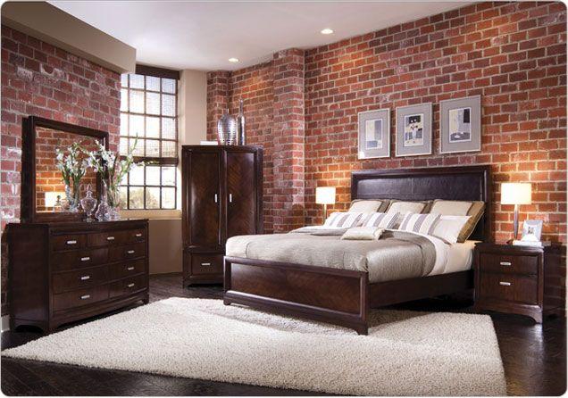 Furniture Store In Queens Representing Lots Of Brands Brick Wallpaper Bedroom Brick Wall Bedroom Brick Bedroom