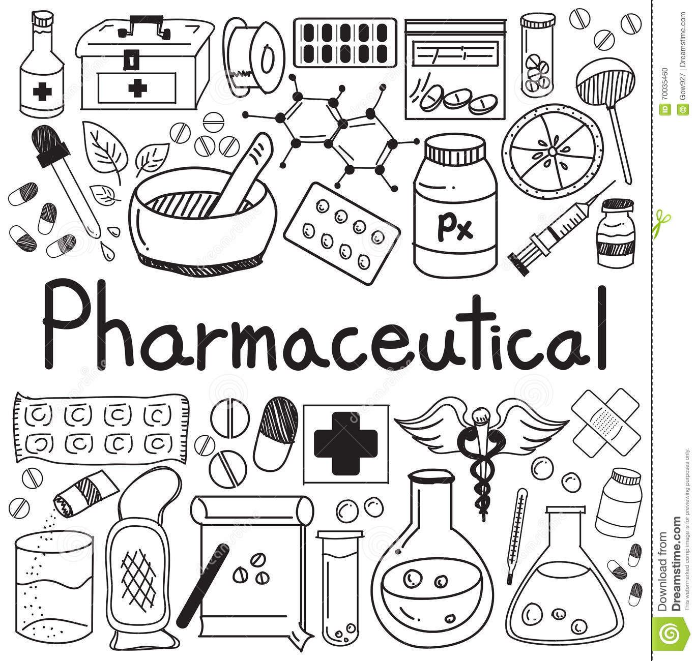 Pharmaceutical And Pharmacist Doodle Handwriting Icons
