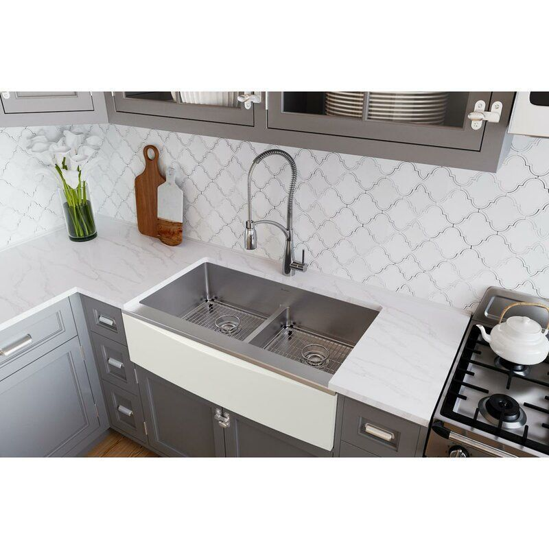 Crosstown 36 L X 20 W Double Basin Farmhouse Apron Kitchen Sink With Basket Strainer C Farmhouse Sink Kitchen Apron Sink Kitchen Stainless Steel Kitchen Sink