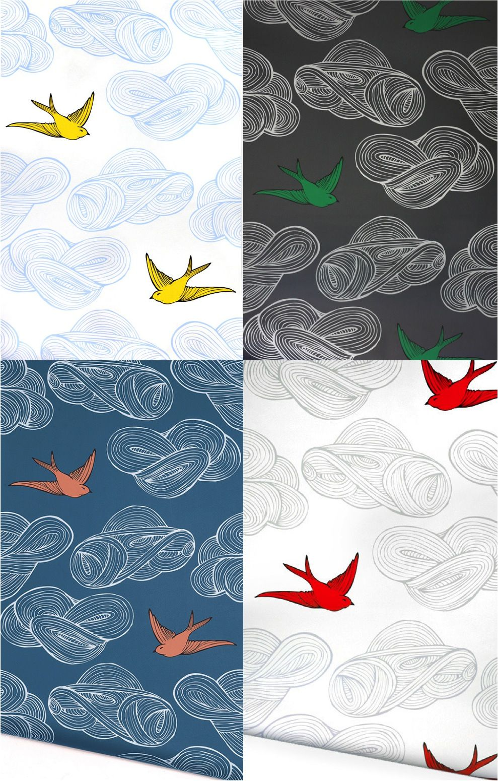 Bold and bright bird wallpaper for a nursery Daydream