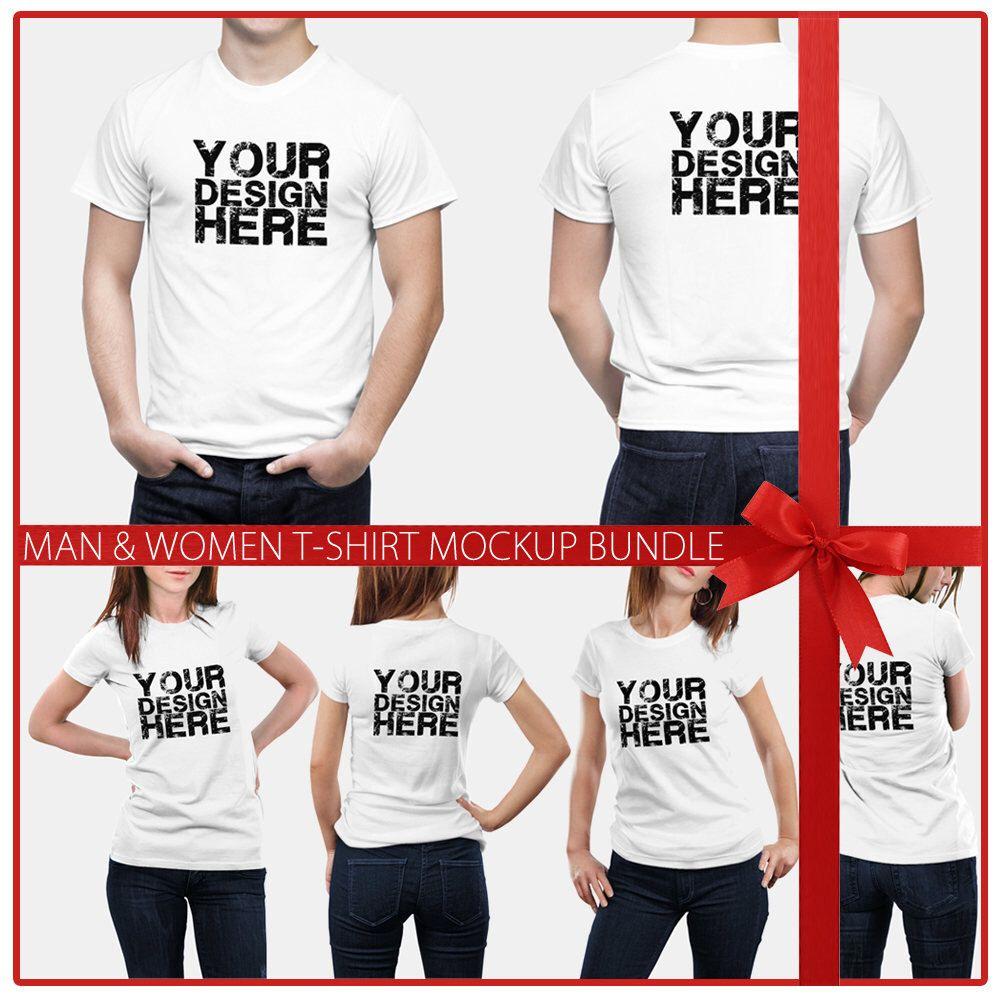 Download Men Women T Shirt Mockup Psd Bundle 6 Poses Models Mock Up High Resolution Psd Png Black White Instant Download T Shirts For Women T Shirt Clothing Mockup