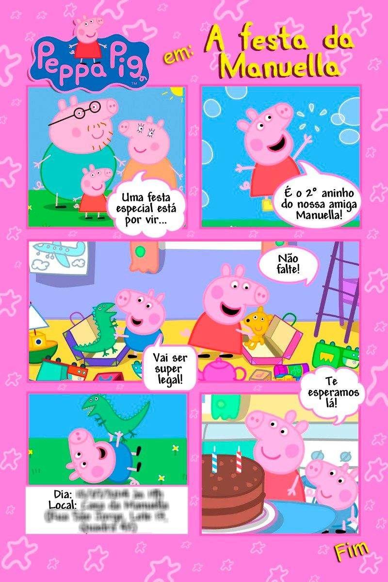Convites da Peppa Pig e George continue vendo.