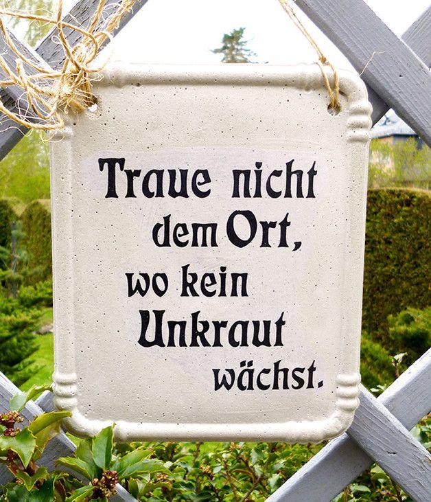 dekoschild für den garten, garten deko, spruch, zitat / sign with, Design ideen