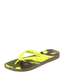 115650dde Men's Designer Sandals & Flip Flops at Neiman Marcus. N2FBZ Valentino by  Havaianas Rockstud Camo-Print Flip Flop, Yellow