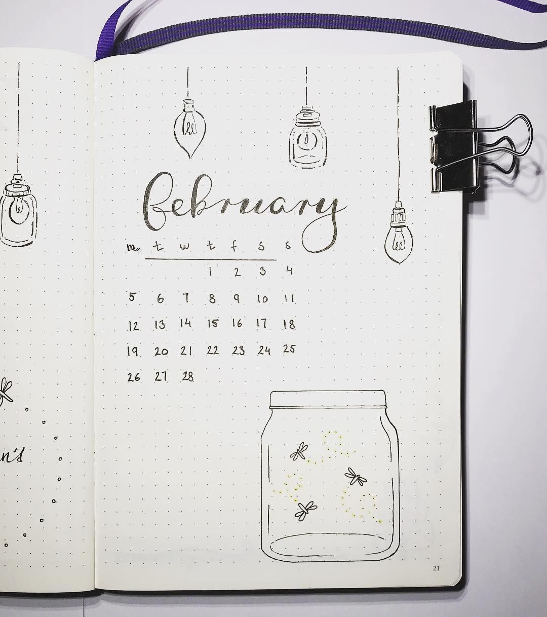 small resolution of bullet journal monthly cover page february cover page fireflies in a jar drawing lightbulb drawings nordic notes