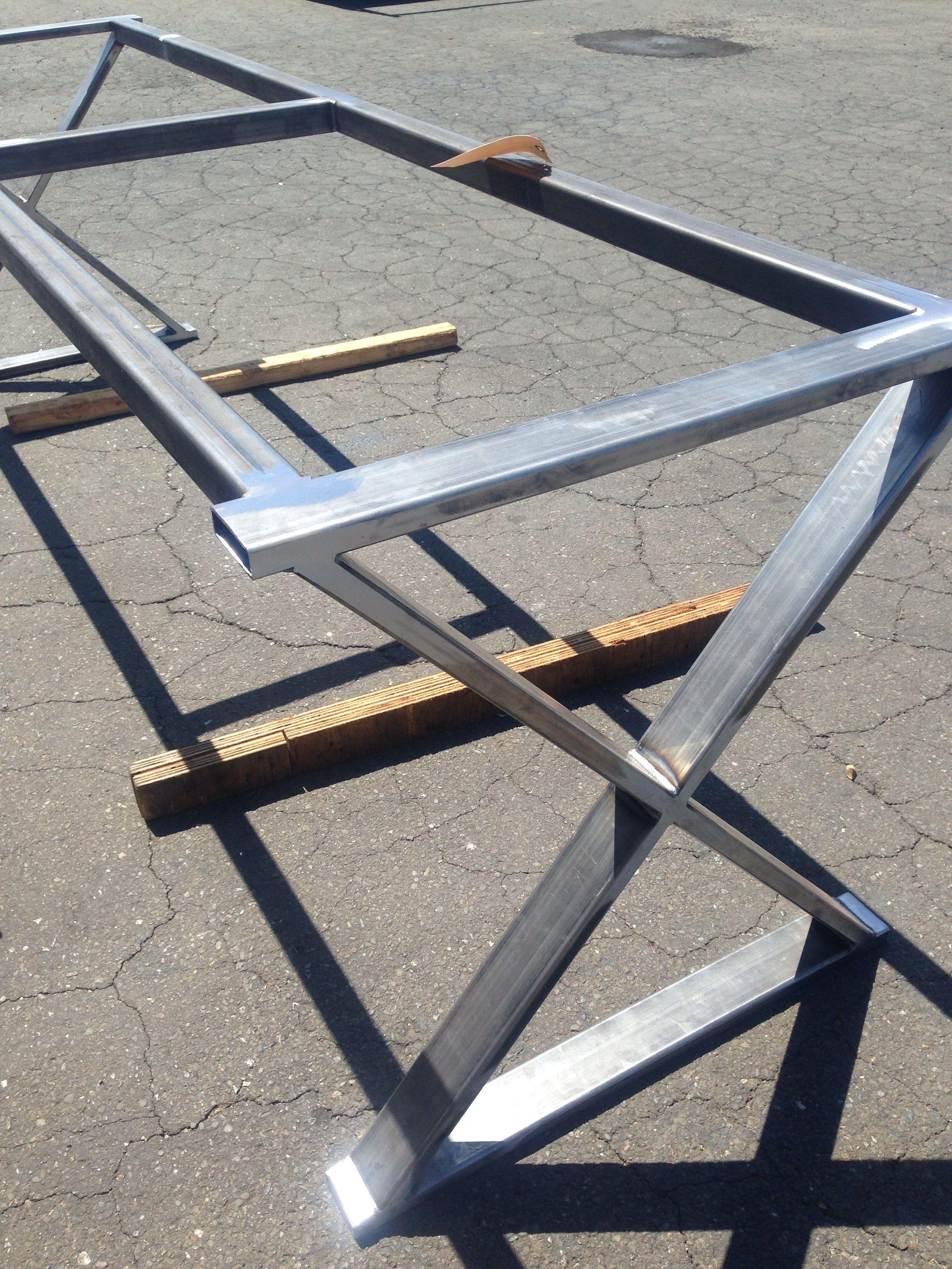 Dining table bases metal - Cross Leg Metal Table Base