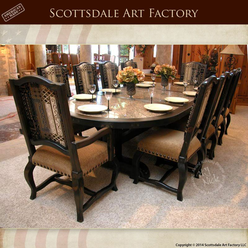 Custom Oval Dining Table Handmade With Granite Inlay Table Top