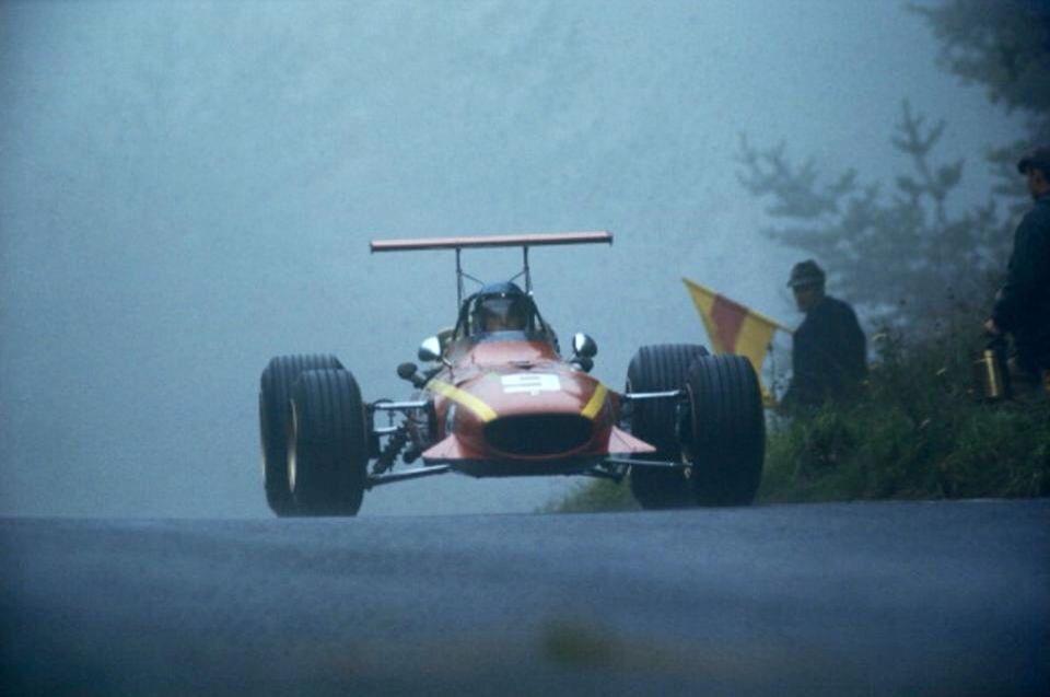 Jacky Ickx' Ferrari 312, 4th in the '68 German GP won by Stewart's Matra MS10 Ford (Schlegelmilch)...