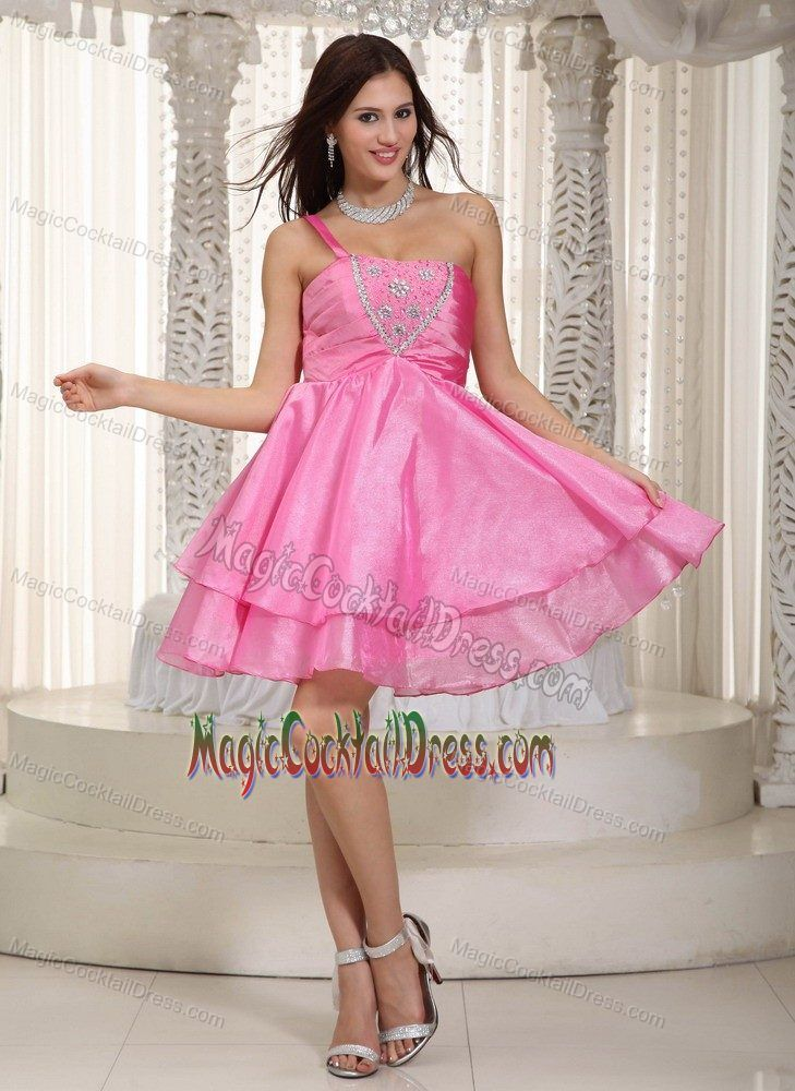 Rose Pink One Shoulder Nevada Cocktail Dress For Prom by Taffeta and ...