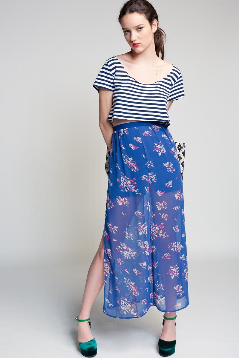 lightweight maxi + crop top + mixed prints