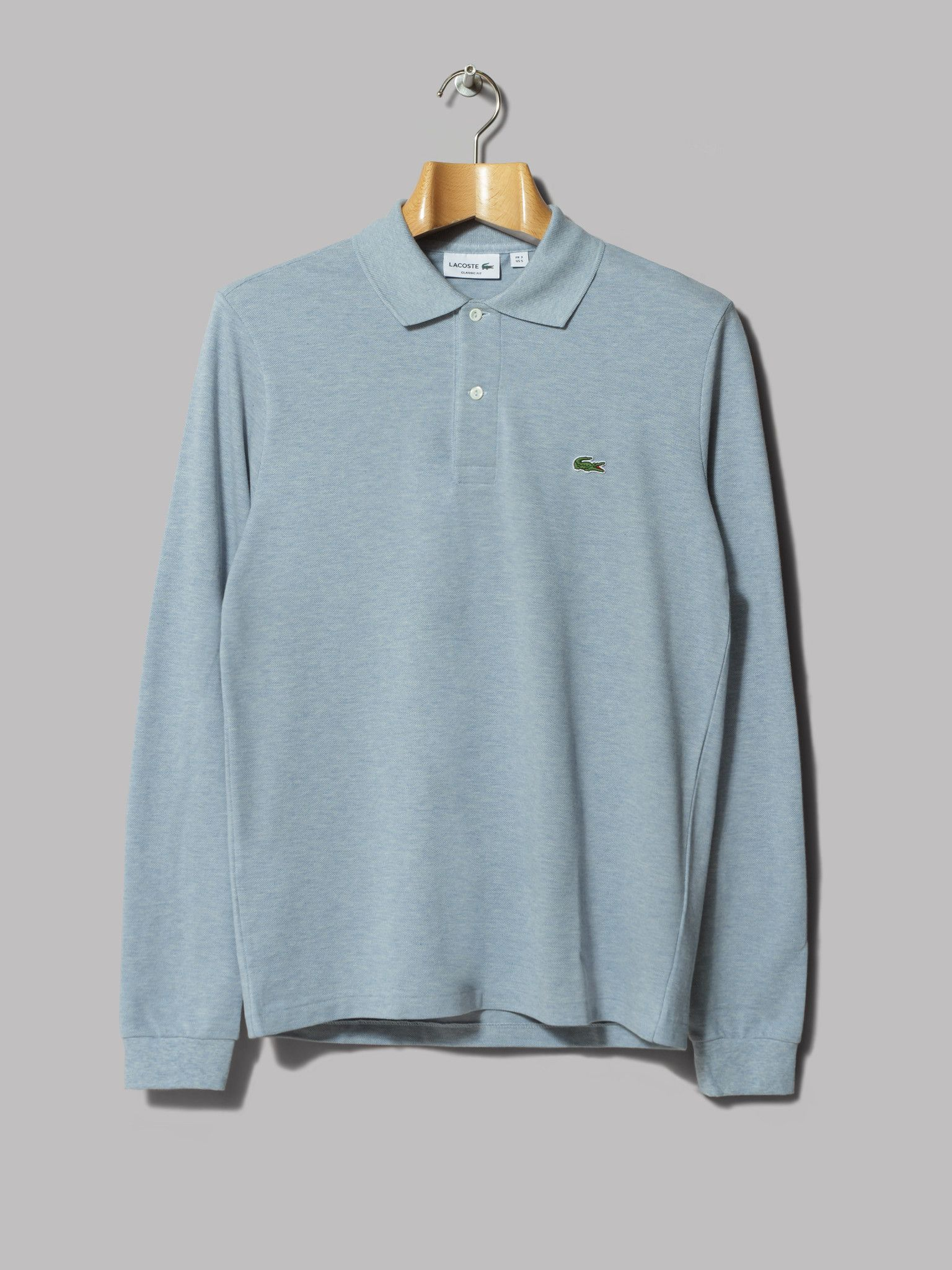 cd0190f7f0839c Lacoste Long Sleeve Marl Pique Polo (Celestial Chine)
