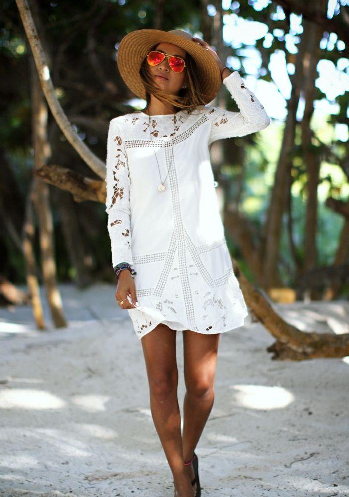 1d7156c05bfd5 70 idées avec la robe blanche dentelle en tendance!