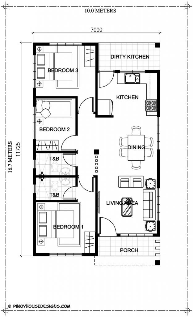Simple 3 Bedroom Bungalow House Design Pinoy House Designs Pinoy House Designs Bungalow Floor Plans One Storey House Single Storey House Plans Simple house plan with 3 bedrooms