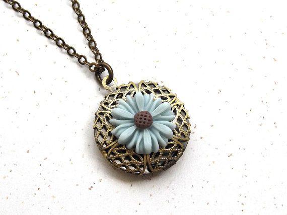 Filigree locket necklace duck egg blue daisy flower by sevenstarz, $16.00
