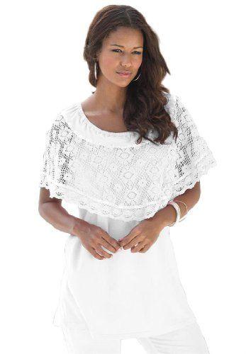 28bd0fff8d451 Roamans Women s Plus Size Peasant Crochet Tunic Denim 24 7 (White