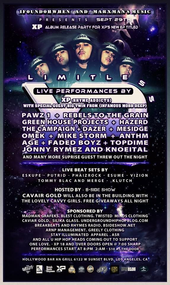 My Guy and a lot of my close friends will be on stage this night celebrating the release of XP's new album 'Limitless'! Some of the Artists Rocking the Stage Are: #TGP #MIKESTORM @TIKTAKMONTANA and my guy #AGE! A NIGHT YOU DONT WANT TO MISS!! Lets Keep this Culture Alive. .*OnE*.