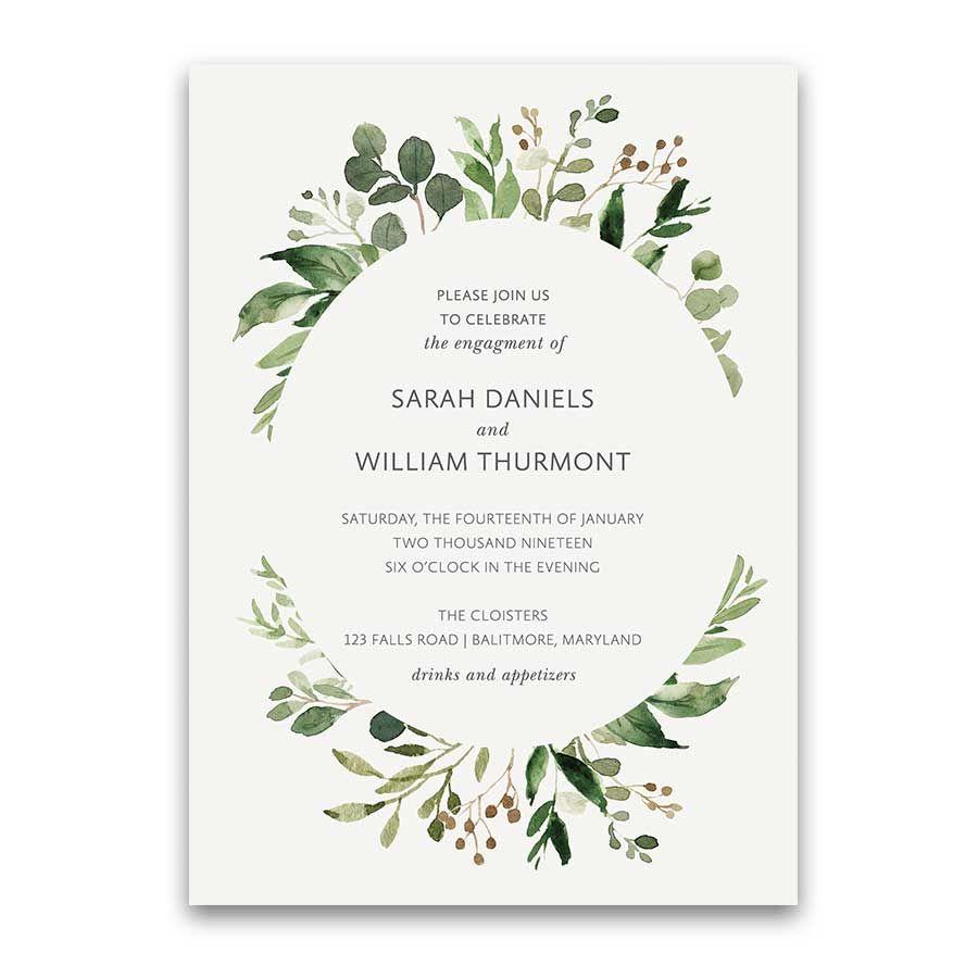 Wedding Engagement Party Invitations Greenery Wreath | Greenery ...