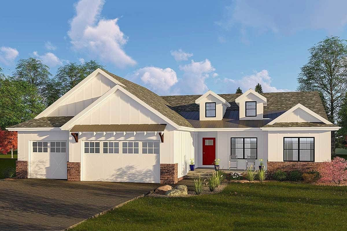 One Story Modern Farmhouse Plan with Vaulted Great