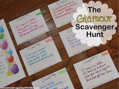 The Quot Glamour Party Quot Scavenger Hunt Birthday Party Games