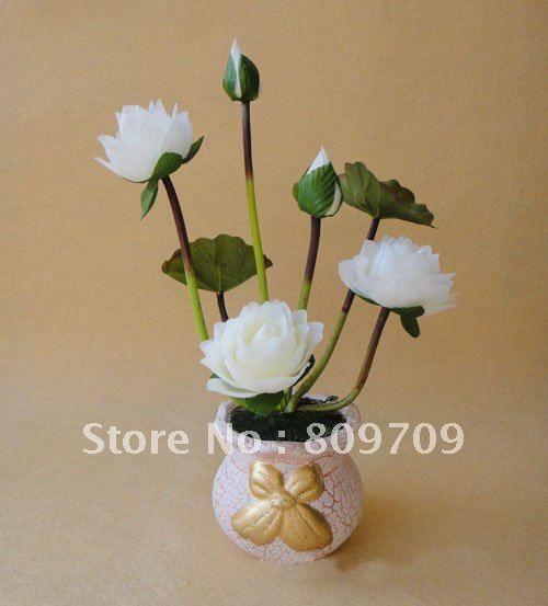 Amazing 50pcs/Lot Artificial Silk Lotus Flower Bouquet Lifelike Mini Water Lily  Arrangement ,Wedding Home Part 29
