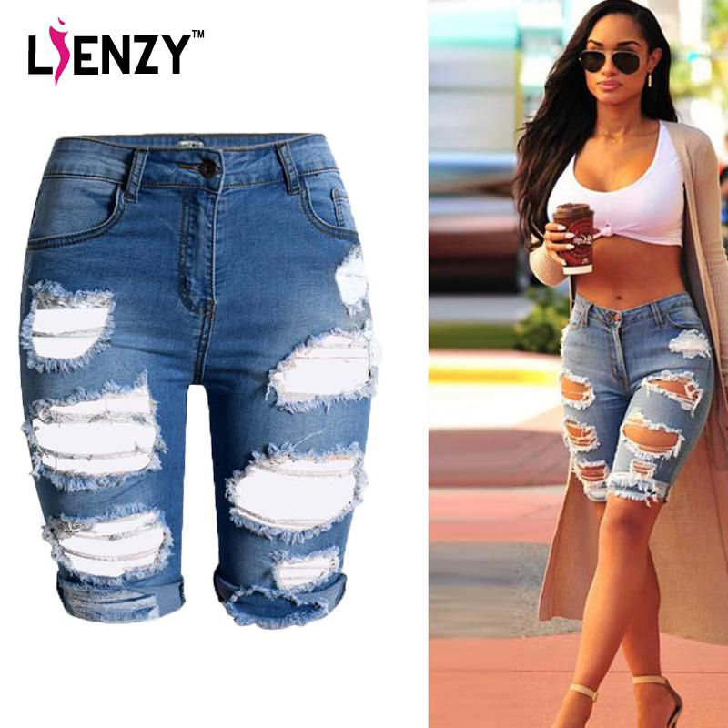 2016 Europe Style Half Ripped Jeans New High Waist Personality ...