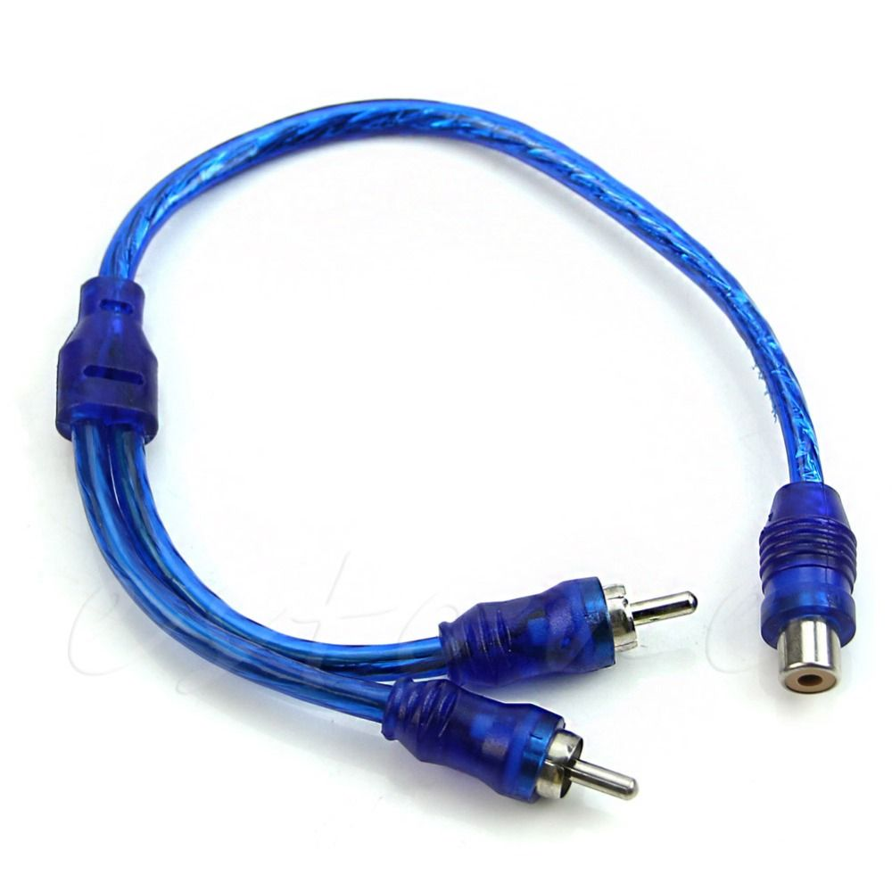 1 Female RCA 2 Male Adapter Cable Wire Splitter Stereo Audio Signal ...