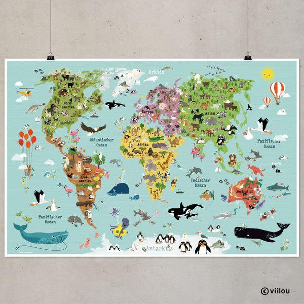 Kinderzimmerdekoration - Illustrierte Weltkarte für Kinder XXL 120x80 cm - ein Designerstück von viilou bei DaWanda
