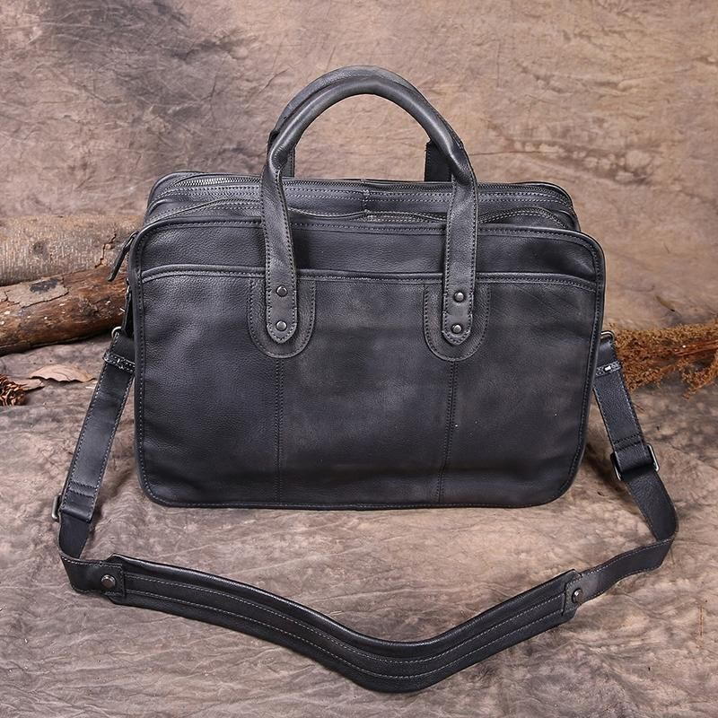 aef7c7112 Handmade Vintage Brown Leather Briefcase Men's Messenger Bag Laptop Bag  NZ01 - LISABAG