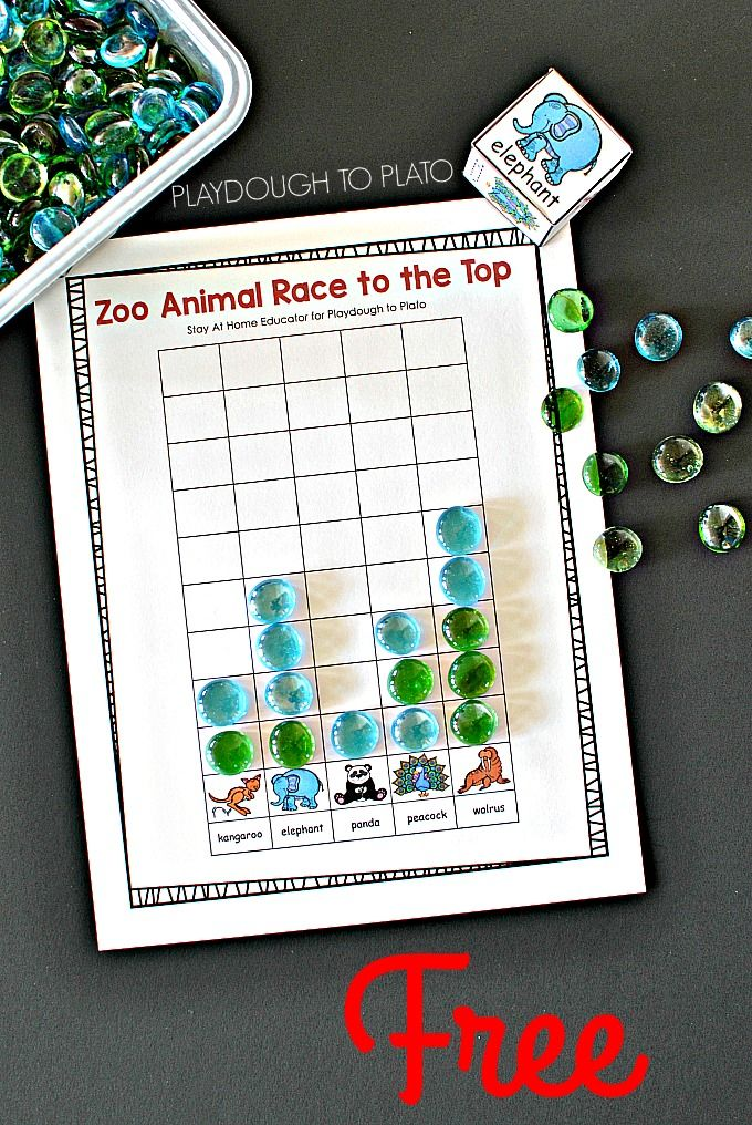 Zoo Animal Game Race to the Top Counting Zoo
