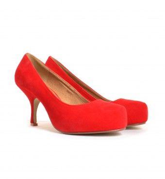 Zapatos Kara Corte suedette Red