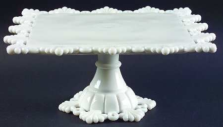 Westmoreland Ring And Petal Pattern Cake Stand In Milk Glass