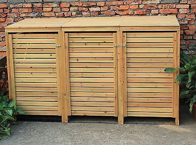 Beautiful Bentley Garden Wooden Outdoor Wheelie Bin Storage Shed Cupboard Unit    Triple