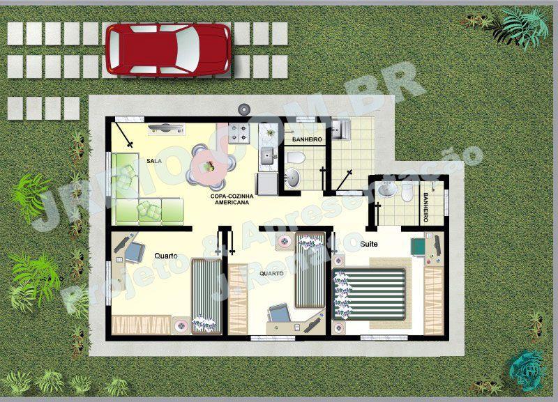 Planta casa popular com su te e 2 quartos plantas de - Casas americanas por dentro ...