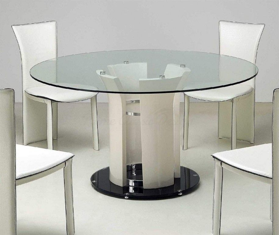 Modern Cylinder Dining Table Base 60 Inch Round Glass Top Dining