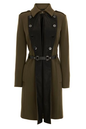 Faux Leather Military Car Coat