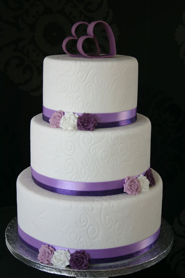 White Purple Wedding Cake Love The Heart Topper